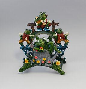 100% Vrai 9977512 Fer De Fonte Figurine Schlauch-halter Grenouille Grenouilles Coloré Bon Pour AntipyréTique Et Sucette De La Gorge