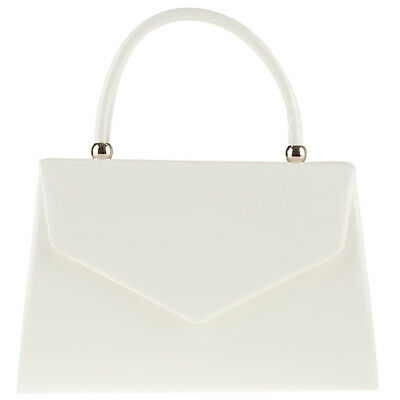 New Stylish White Patent Wedding Ladies Party Prom Evening Clutch Hand Bag Purse