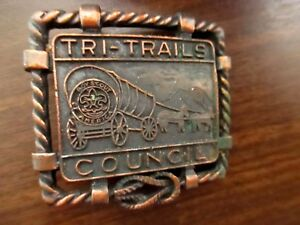 True-Vtg-BSA-Boy-Scout-Tri-Trails-Council-Belt-Buckle-2x2-034-for-1-25-034-wide