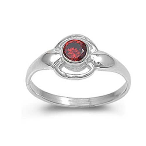 Garnet CZ Wholesale Round Baby Ring New .925 Sterling Silver Band Sizes 1.5-5
