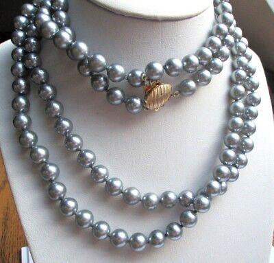 Fiducioso Superbe Ancien Collier Double Rang Perles Grises Fermoir Doré Bijou Vintage P Eccellente (In) Qualità