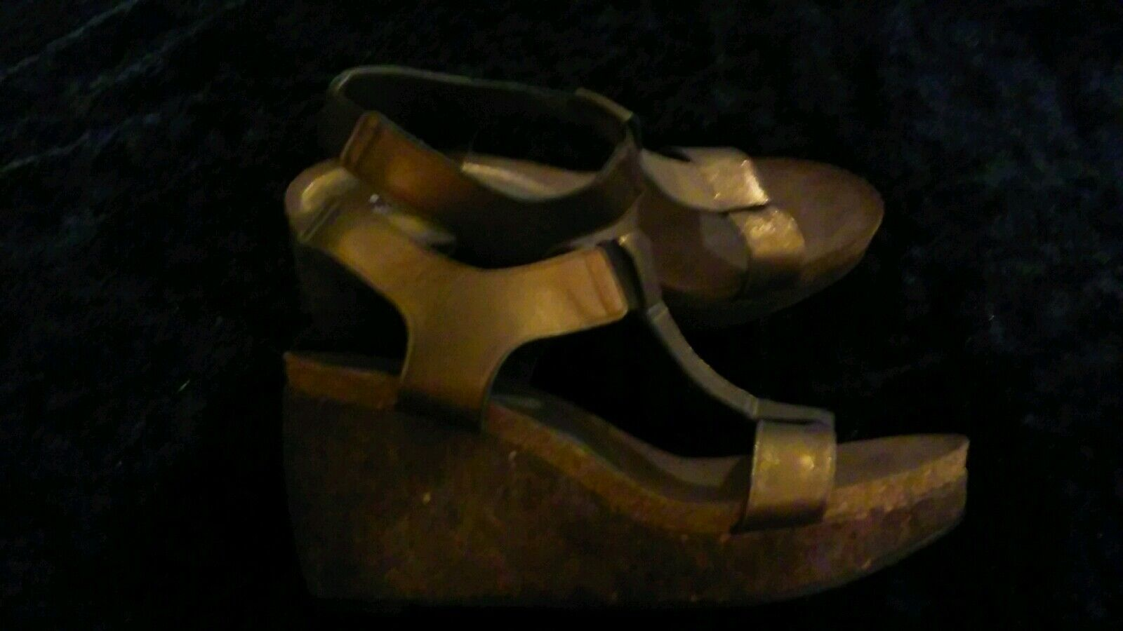 Donald J Pliner Bronze Cork    Women's Wedge Heels Slingback Strappy Sandals 8.5 4e1000