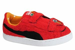 Image is loading Puma-Basket-Sesame-Street-Elmo-Statement-Kids-Trainers- 0cf0bd146