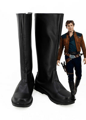 Solo A Star Wars Story Han Solo Cosplay Boots Shoes Black Custom Made GG.1599