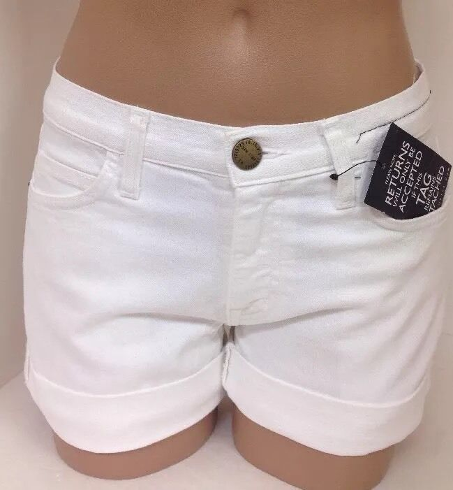Current Elliott Shorts White Denim Nwt Size 23 The Boyfriend Rolled Short