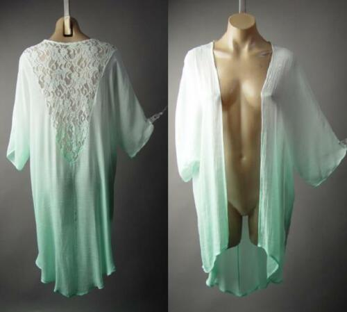 Pastel Ombre Gauzy Knit Lace Back Open Front Robe Wrap Kimono 229 mv Jacket M L