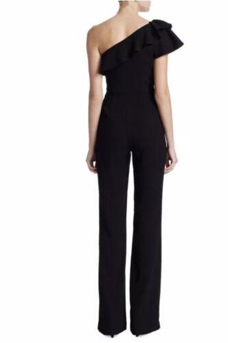 Ruffled Lhuillier 10 New Jumpsuit 450 One shoulder Size Monique Ml Black Petite IRwOwtAq