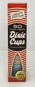Vintage-New-NOS-1968-Dixie-Cups-Cold-Drink-5-oz-Sealed-Rare-Pastel-Colors