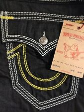 NWT TRUE RELIGION Sz34 STRAIGHT W/FLAP YELLOW MEGA T JEANS INGLORIOUS $329.