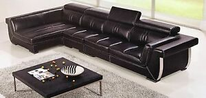 Details About 3 Pc Italian Top Grain Dark Brown Leather Sectional Sofa Chaise Chair Set