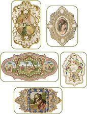 Vintage 5 fancy perfume Paris label illustrations on glossy paper crafts