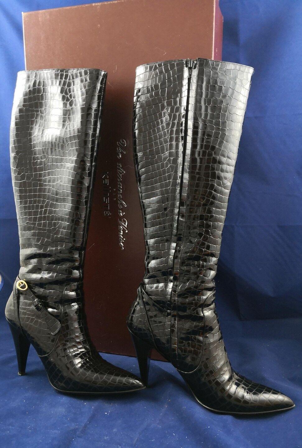 Stivali stampa donna alti vernice nero stampa Stivali coccodrillo pelle tacco alto Kalliste 37 50d3b1