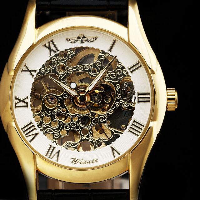 WINNER New Design Fashion Mens Skeleton Mechanical Watch Vintage Golden Dial Uhr