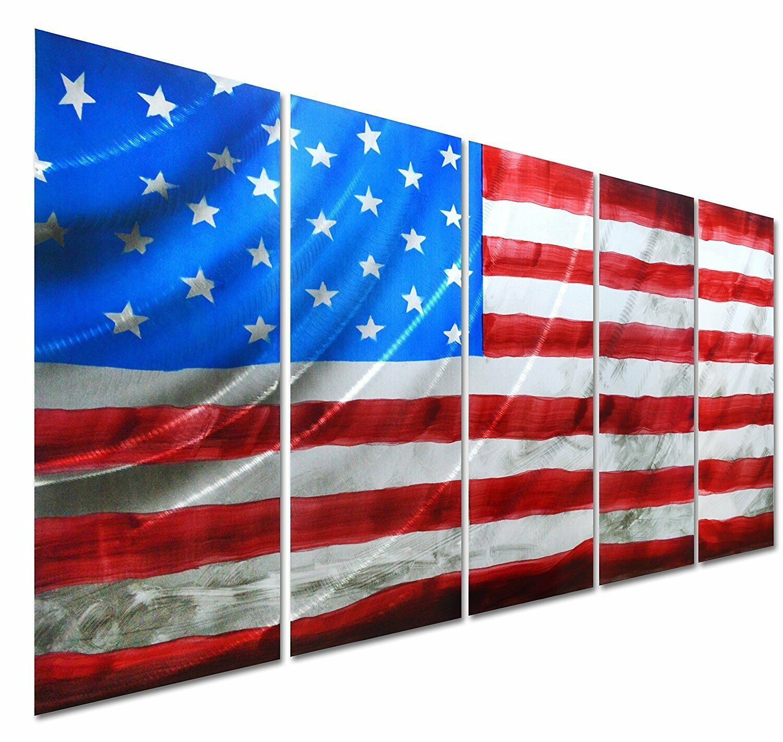 Pure Art American Flag - USA Country Themed Metal Wall Art Decor-...