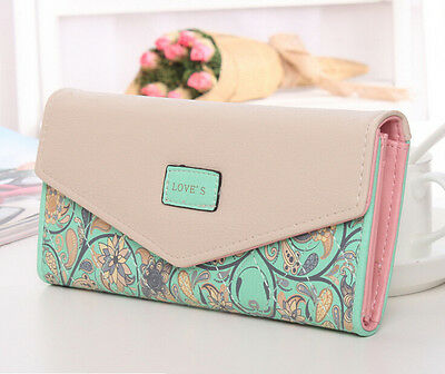 new women lady leather clutch wallet PU card holder purse handbag envelope bag