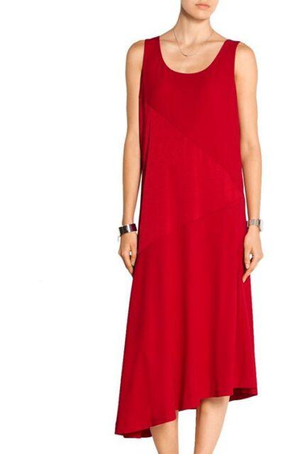 a5e00b95d4c DKNY ~ Red Paneled Satin   Crepe Asymmetric Shift Cocktail Dress S NEW  335