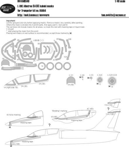 NWAM0348 New Ware 1//48 Aero L-39C Albatros BASIC paint masks for Trumpeter