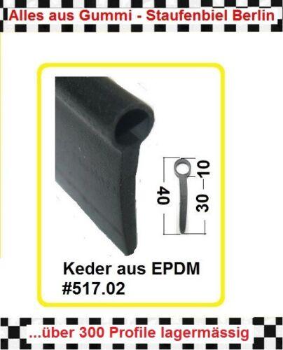 Fahnenprofil Gummikeder Keder 517.02 aus BERLIN € 11,85//m 2m Gummidichtung
