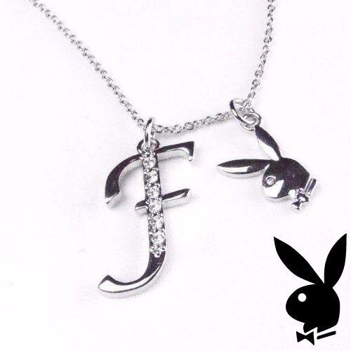 Playboy Necklace Silver Pendant w Chain Swarovski Crystal Bunny Charm Letter F