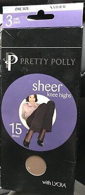 3 Paia Calze Pretty Polly Sheer 15 Denari Alti Al Ginocchio, Naturale, Nuovo Con Etichetta, Taglia Unica Regolare-mostra Il Titolo Originale
