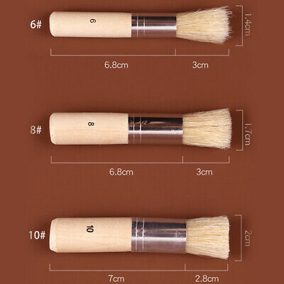 Stencil Project Oil Painting Watercolor Painting Card Making and DIY Art Crafts 3Pcs Set Hog Bristle Brushes Wooden Stencil Brush ,Three Sizes Natural Bristle Brushes Acrylic Painting