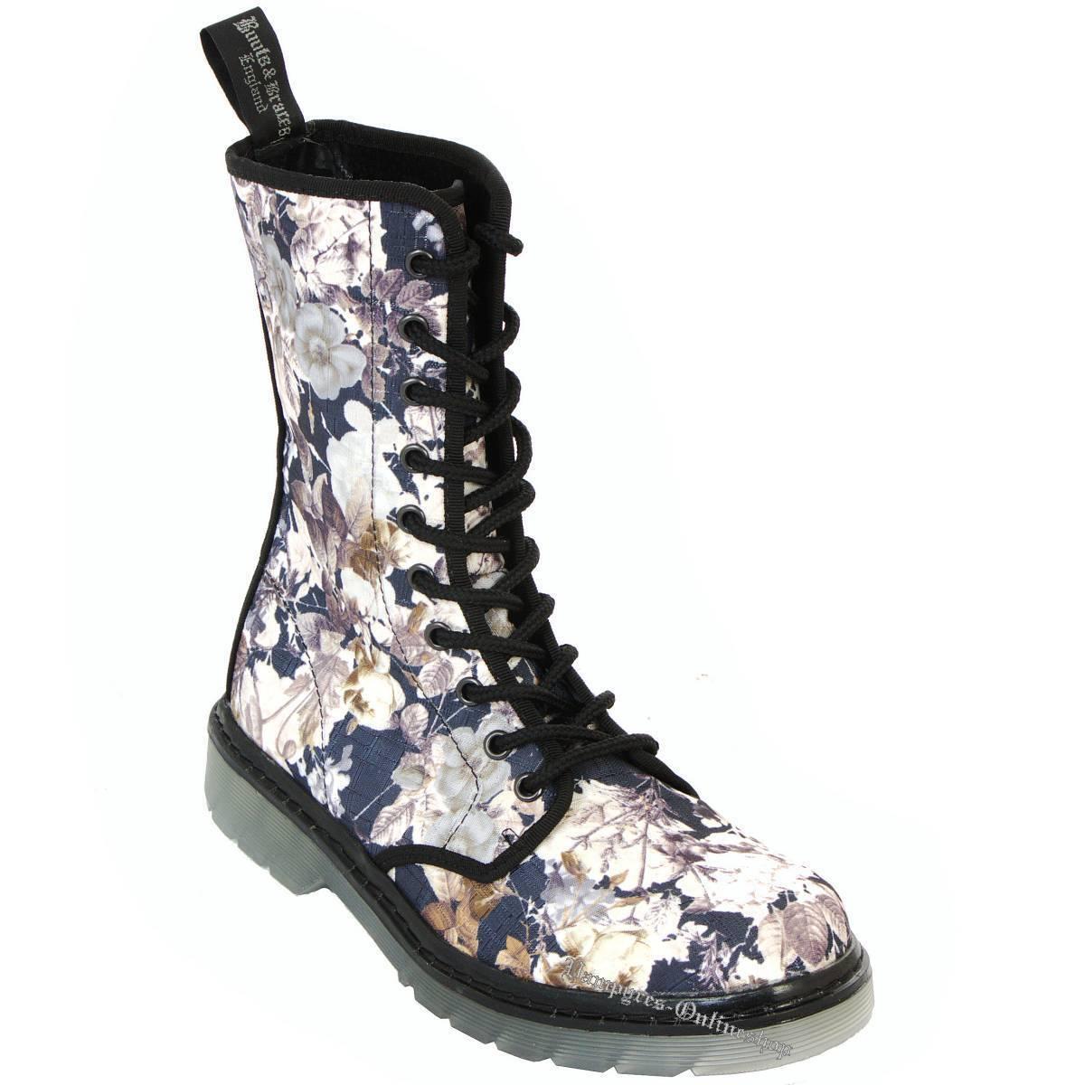 botas and braces Easy 10 10 10 agujeros de septiembre Flowers flores botas zapatos floral 61b839