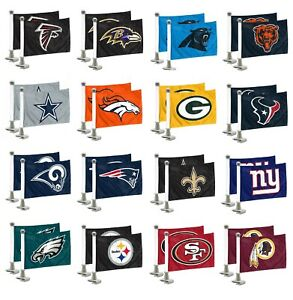 NFL-Football-Car-Hood-Trunk-Ambassador-Flags-Set-of-Two-Double-Sided