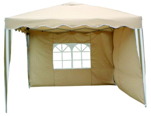 Easy Build Pop Up Aluminium Falt Pavillon Partyzelt inkl 2 Seitenteile Beige//Wei