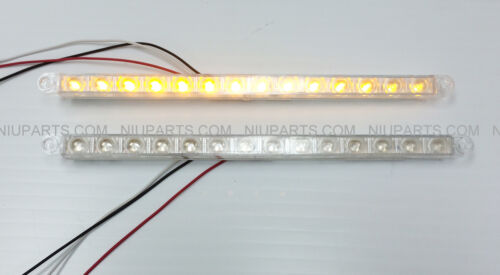 "12/"" 14 LED Light Strip Clear//Amber for Kenworth Peterbilt Freightliner FLD Pair"