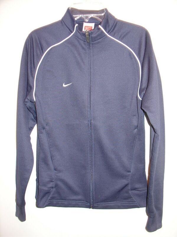 Delicious Womens S Navy Nike Team Fit Dry Track Jacket Full Zip White Stripes Zip Pockets Up-To-Date Styling