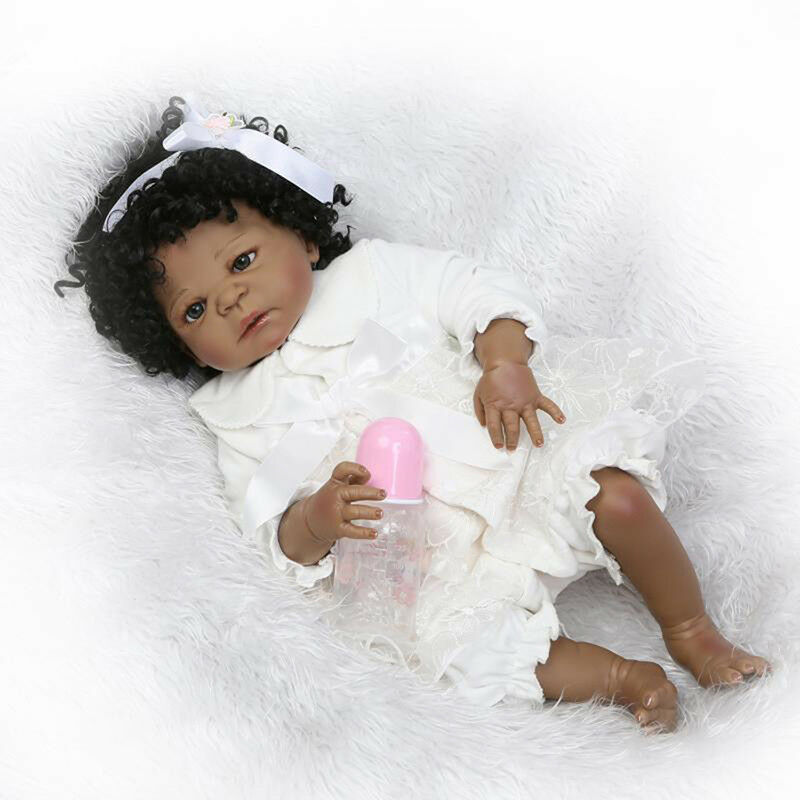 22in Curly Hair African Skin Nuovoborn Gift Handmade Silicone Reborn Baby Dolls