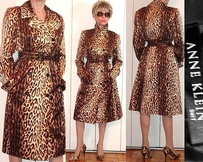 ANNE KLEIN EVE SILK LEOPARD DOUBLE BREASTED TRENCHCOAT BELTED LIGHT COAT 10
