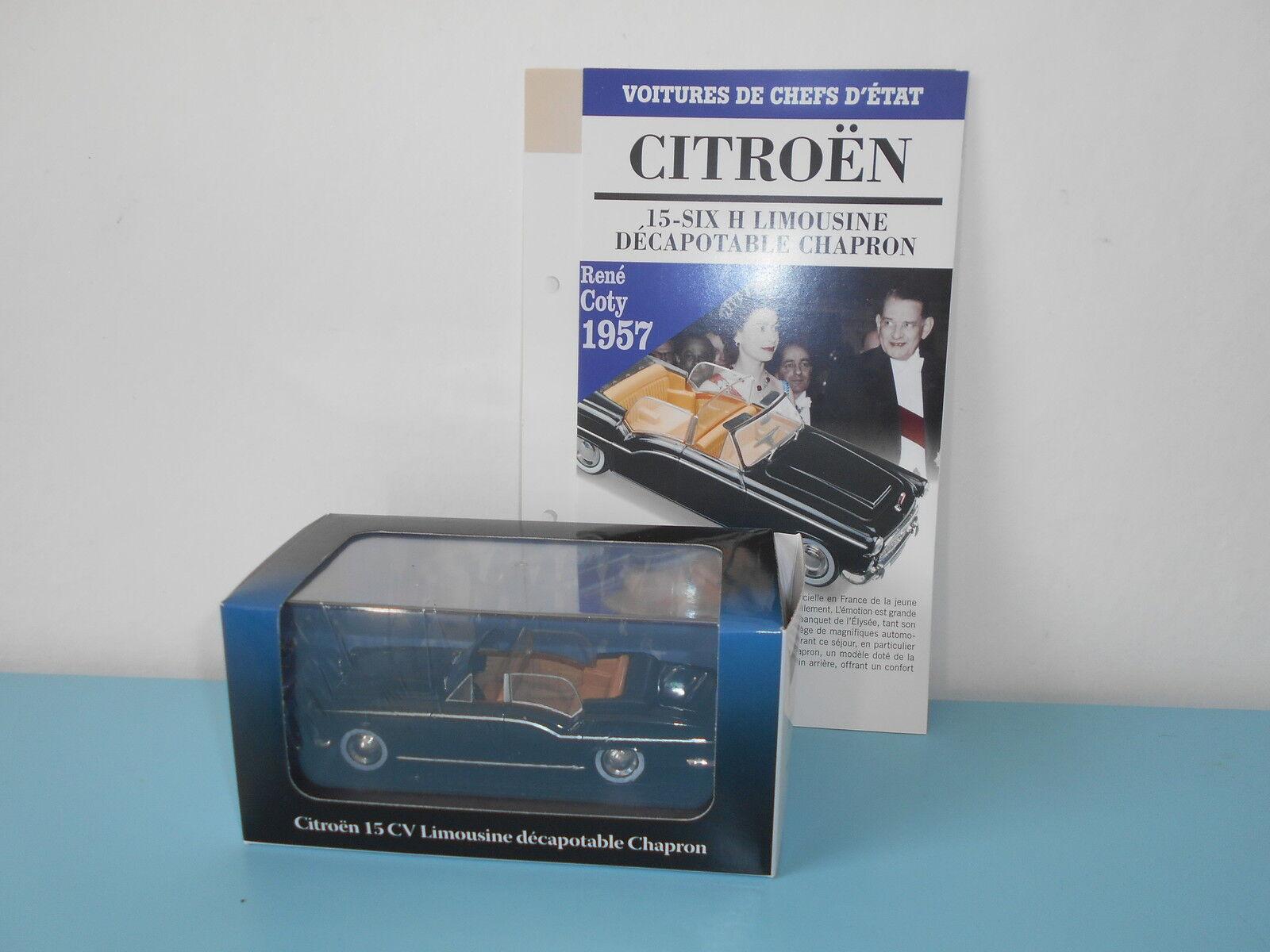 Citroën 15 cv limousine chapron ATLAS voitures chefs d'état présidentielle 1 43