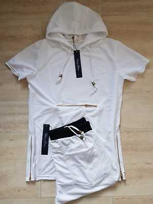 Dynamisch Mens Latest Hooded T-shirt And Short Set Hooded Top Gym Shorts Full Set 2 Piece