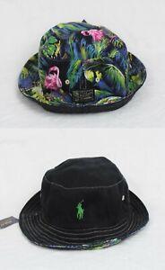 Polo-Ralph-Lauren-Reversible-Bucket-Cap-Flamingo-Black-Green-Hat-NWT