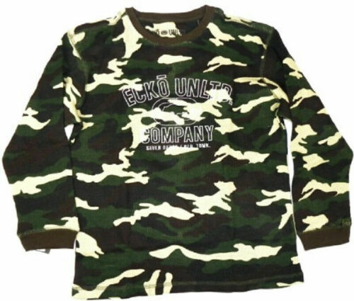 Boy/'s 4-7 Ecko Unltd Shirt Long Sleeve Thermal Waffle Knit Camo Tee T-Shirt NEW