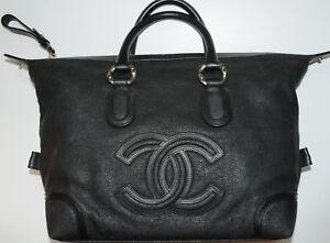 New CHANEL BAG Classic Black Soft CAVIAR Leather Tote Shopper ... 3ae44f5594e7e
