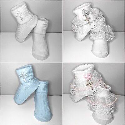 Baptism Socks White Ivory Embroidered Cross Boy Girls Newborn Infant Christening