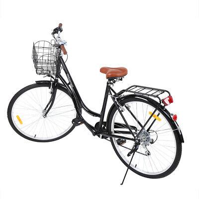28 Pulgadas Bicicleta de Paseo Deportivo Ciclismo de 7 Velocidad de Adulto Negro
