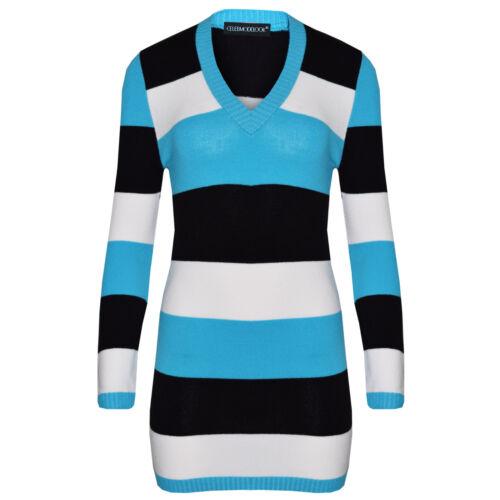 N38 New Womens Ladies Full Length Striped V-Neck Knitted Jumper Dress