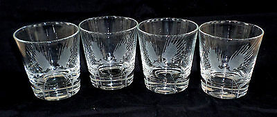 Wheel-Cut WHEAT pattern * set/s of 4 * ON THE ROCKS Old Fashioned Glass Tumbler