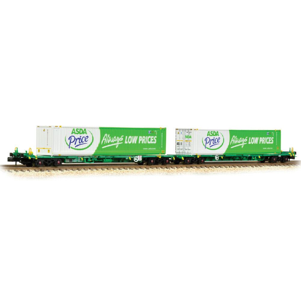 Graham Farish N 377-368 FIA Intermodal Bogie Wagons With 2 ASDA 45ft Containers