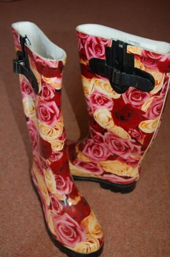 Festivel Wellies Wellington slip Welly Ridged Soles Pink Boots Rose New Non 6 HZxtCwqqP