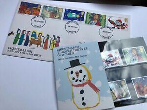 GB-Navidad-Sellos-1981-primer-dia-cubierta-y-sello-de-menta-conjunto-MATASELLOS-Leicester