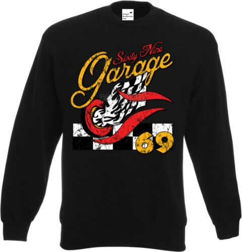 Sweat-shirt en noir v8- /&/' 50 Style Motif Modèle Garage 69 Hot Rod- US Car
