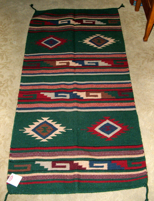 Throw Rug   Tapestry Southwestern Hand Woven Wool 32x64  128 G