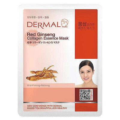 Dermal Korea Collagen Essence Full Facial Mask Sheet - Red Ginseng(12 Pack)