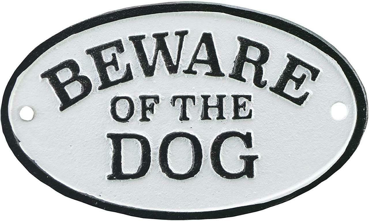 Cast Iron BEWARE OF THE DOG Sign - Dogs - Warning Sign Gift