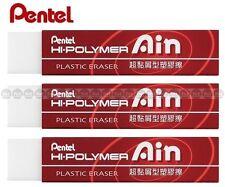 x 3 pcs 65x13.6x13.6mm Red ZETS07 PENTEL AIN Hi-Polymer Plastic Eraser