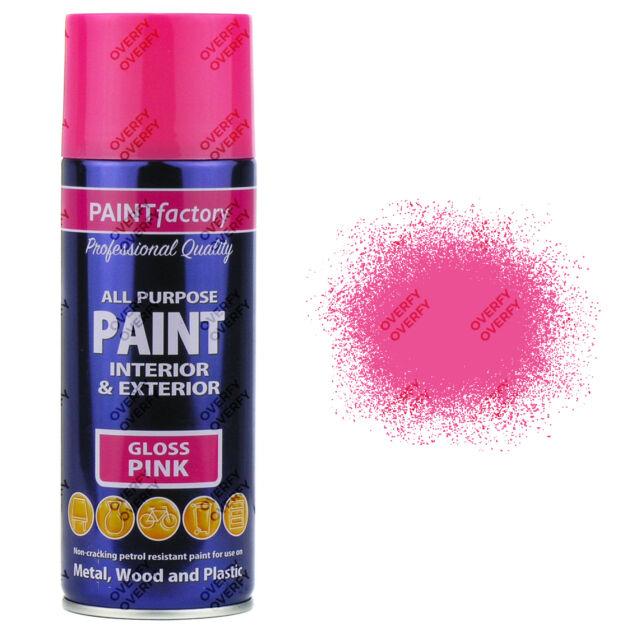 X1 400ml All Purpose Pink Gloss Aerosol Spray Paint Can Household Car Plastic